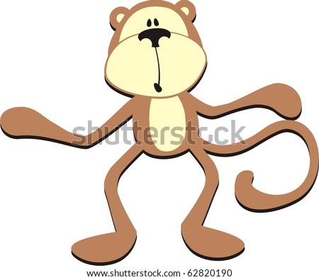 isolated cartoon confused monkey, individual objects very easy to edit in vector format
