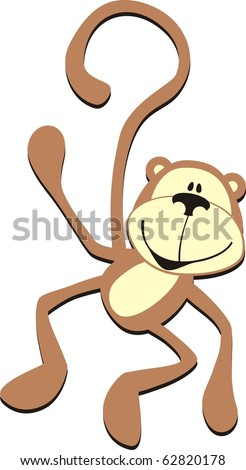 isolated cartoon smiling greeting monkey, individual objects very easy to edit in vector format - stock vector