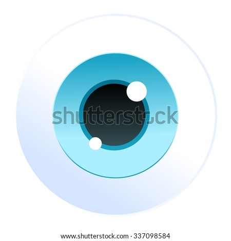 Isolated cartoon vector blue eyeball icon