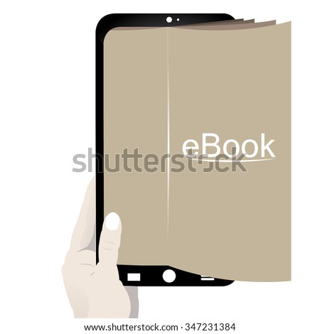 Isolated cellphone with an e-book icon on a white background - stock vector