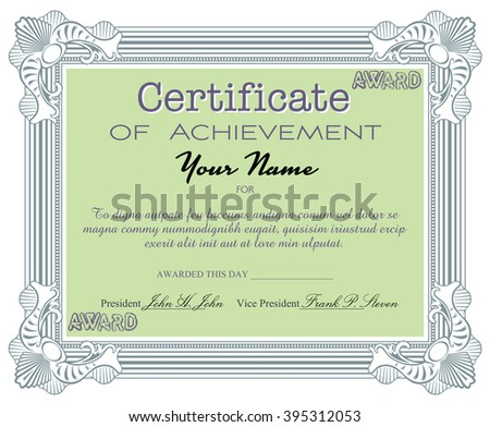 Isolated Certificate With The Text Certificate Of Achievement Written With  Various Letters. Certificate Sample  Certificate Of Achievement Sample