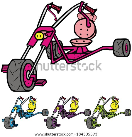 Isolated children's tricycle toy, vector illustration