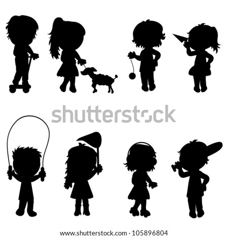 isolated children silhouettes with outdoor activity for fun and games - stock vector