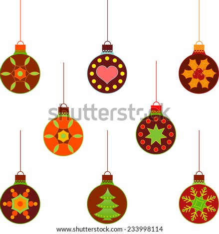 Isolated Christmas Tree Ornament Vectors