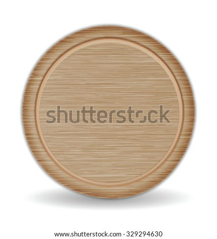 Isolated Circle Cutting board, Dark Brown Oak Wood Pizza Tray - stock vector