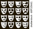 isolated classical white theatre masks on a black background expressing different emotions - stock vector