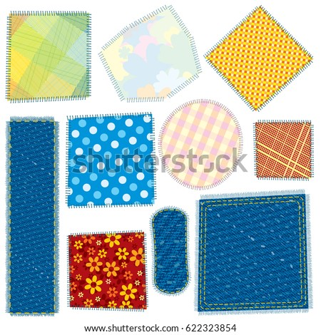 Isolated Cloth Patch. Textile Patches. Fabric Swatches. Vector