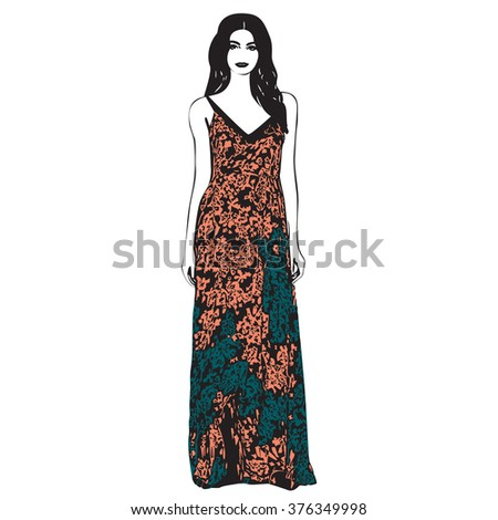 Isolated clothing model staying print outline floral white clothes pose line diva vector glamour celebration graphic casual drawing female fashion posing contour elegant ink dress lady figure girl - stock vector