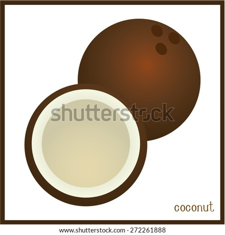 Isolated coconut on a white background. Vector illustration - stock vector