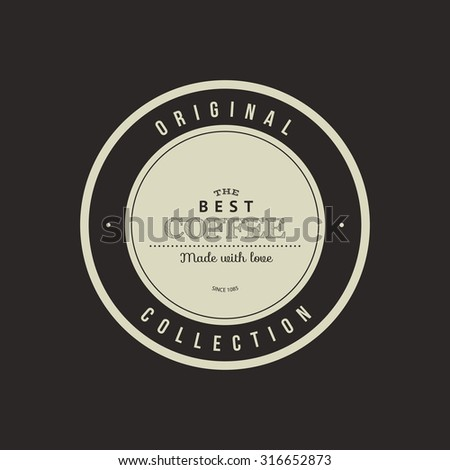 Isolated coffee label on a black background