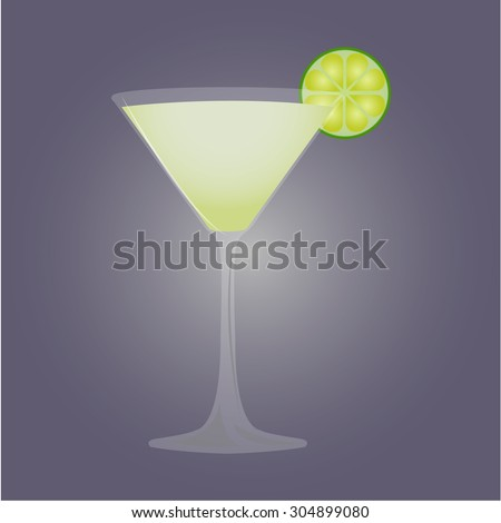 Isolated cold cocktail on a colored background. Vector illustration