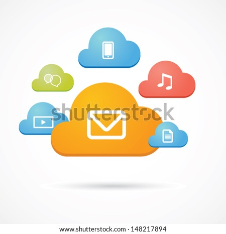 Isolated colored clouds with icons  - stock vector