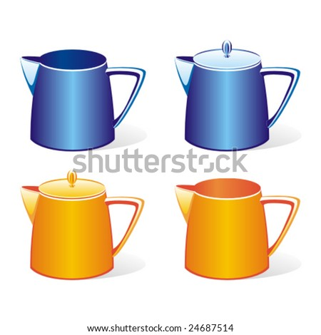 isolated colored milk jugs set