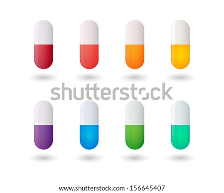 Isolated colored pills