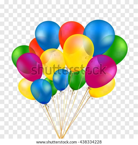 isolated colorful baloons, yellow, blue, red, green. Vector festive air inflate illustration - stock vector