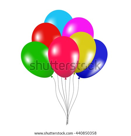 Isolated colorful bunch of balloons design on white background. Vector decoration for birthday party and festival celebration.