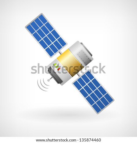 Isolated communication satellite icon with solar cells - stock vector
