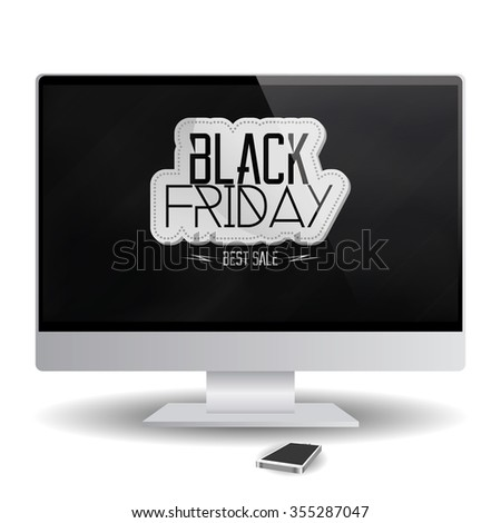 Isolated computer screen with a black friday background
