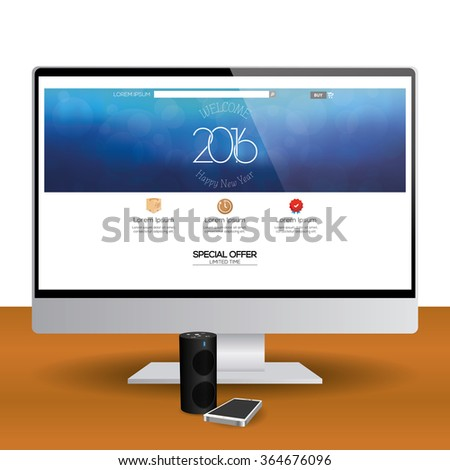 isolated computer screen new year web stock vector hd royalty free