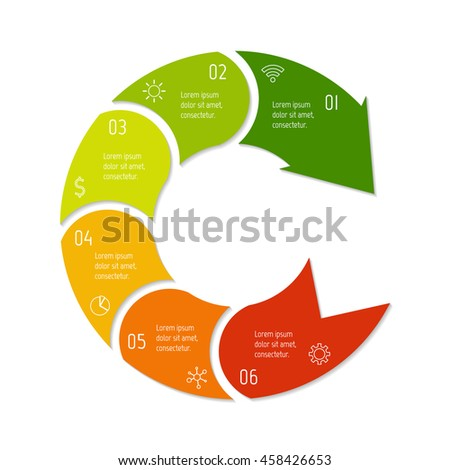 isolated connected round infographic diagram template stock vector