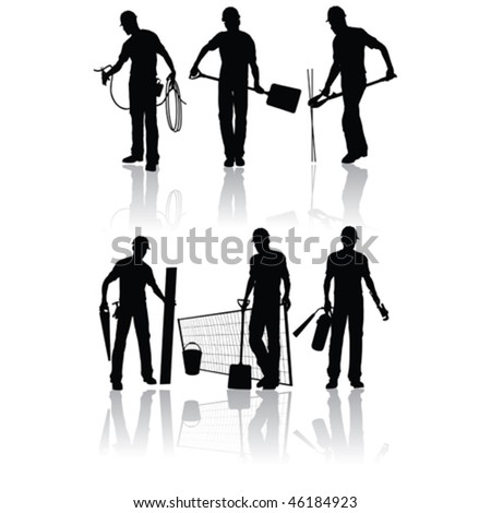 Isolated construction workers vector silhouettes with different tools - stock vector
