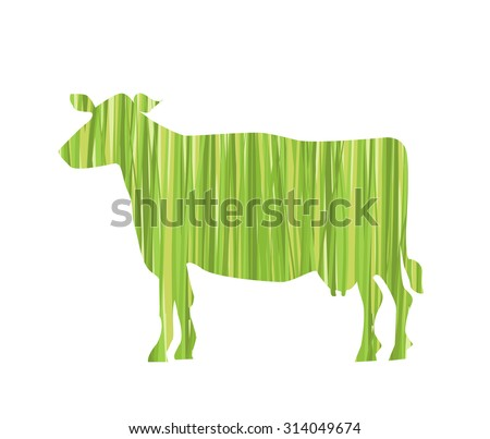 Isolated Cow Silhouette Filled with Grass Texture - stock vector