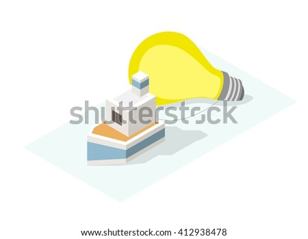 "Isolated Creative Red Block Word "" Solution "" on White Background. Construction Concept. Vector Illustration. - stock vector"