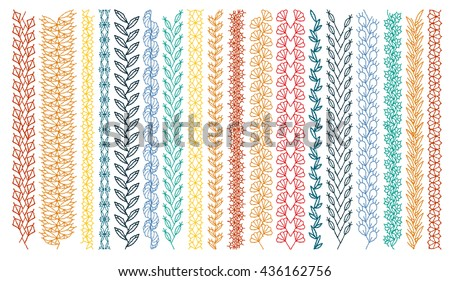 Isolated Crocheted Lace Border Openwork Pattern Stock Vector