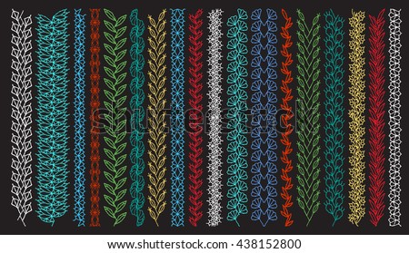 Isolated crocheted lace border with an openwork pattern. Stitch pattern for clothing, elements of folk embroidery - stock vector