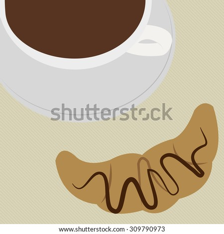 Isolated croissant next to a coffee mug. Vector illustration