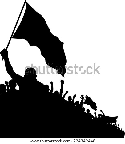 isolated crowd with flags  - stock vector