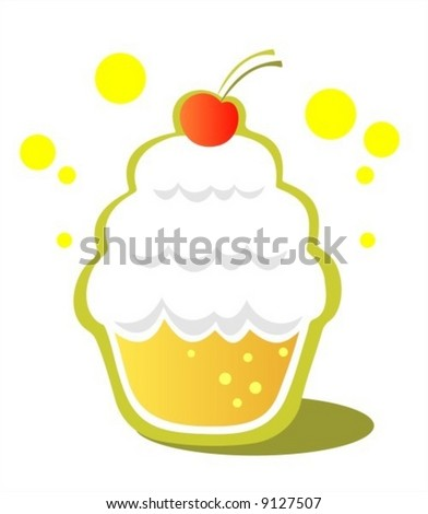 Isolated cupcake with cherry on a white background.