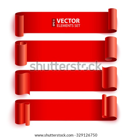 Isolated curled red paper stripe banners with realistic shadows on white background. RGB EPS 10 vector elements set - stock vector