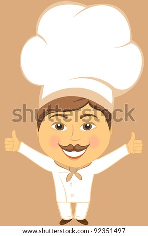 isolated cute cheerful smiling cook with hand showing thumb up