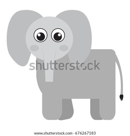 Isolated cute elephant on a white background, Vector illustration