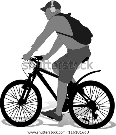 isolated cyclist with backpack silhouette