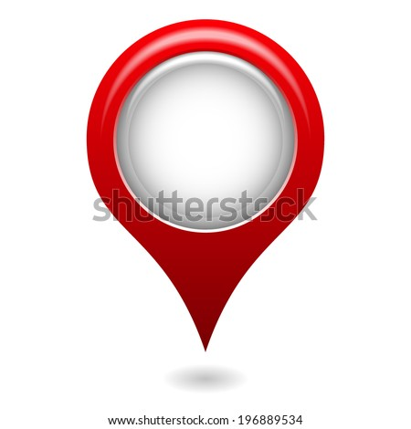 isolated 3d red map pointer - stock vector