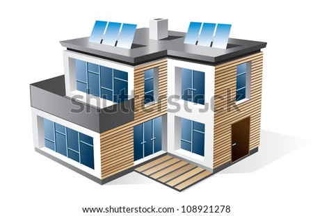 Isolated 3d vector icon of modern family house with wood facade. - stock vector