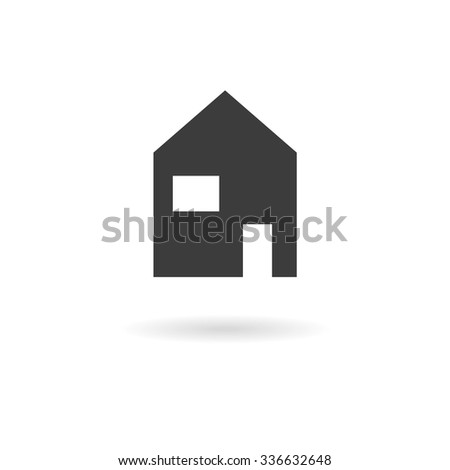 Isolated dark grey icon or home (house) on white background with shadow - stock vector