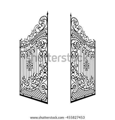 Isolated Decorated Steel Open Gates Vector Illustration Black And White