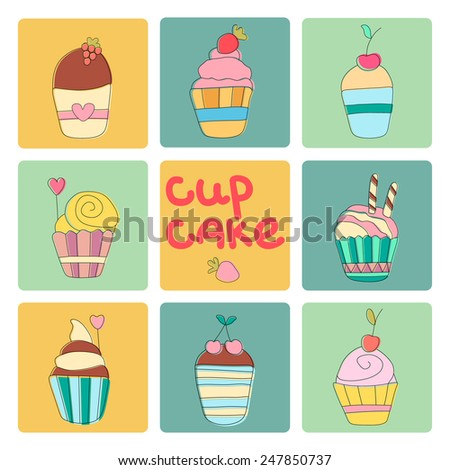 Isolated delicious yummy vector cupcakes. Set of doodle icons. Hand drawn design elements. Perfect for your design.