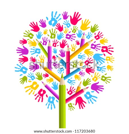Isolated diversity in education concept tree hands illustration. Vector file layered for easy manipulation and custom coloring. - stock vector