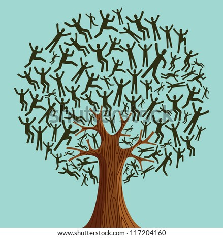 Isolated Diversity tree people illustration. Vector file layered for easy manipulation and custom coloring. - stock vector