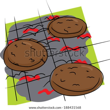 Isolated doodle drawing of burgers on grill - stock vector
