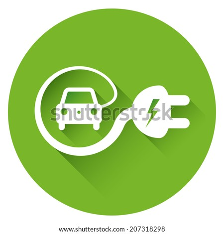 Isolated electric car icon with long shadows  - stock vector