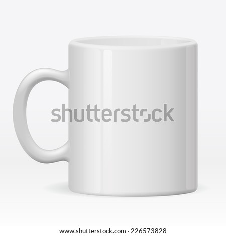Isolated empty ceramic white cup on white background - stock vector