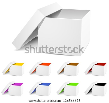 Isolated empty white and colorful open Box on a white background. Vector illustration.  3D three-dimensional image - stock vector
