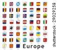 isolated european flags - stock
