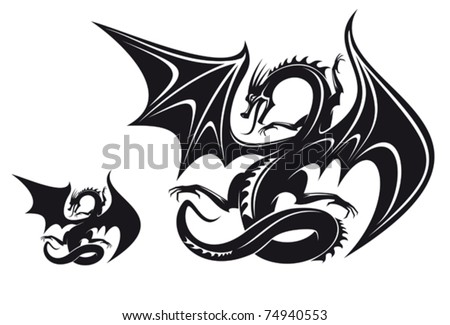 Isolated fantasy black dragon for tattoo design. Jpeg version also available in gallery - stock vector