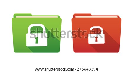 Isolated file folder icon set with lock pads - stock vector